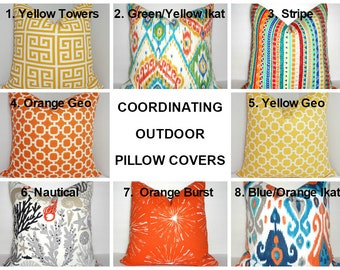 OUTDOOR Coordinating Pillow Covers Outdoor Orange Yellow Blue Nautical Pillow Covers Choose Fabric & Size