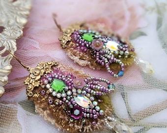 Fantasia lace earrings, Boho earrings, bead embroidery textile jewelry, long lightweight earrings, Marie Antoinette inspired wedding jewelry