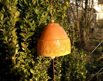 The bell is an ukrainian ornament, 9,5cm,Handmade ceramics, Hanging decorations,Holiday decoration. Garden bell.  Holiday gift