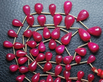 9 Inch Strand,Superb-Finest Quality AAA Quality Ruby Smooth Tear Drops Shape Briolettes, 6-9mm size