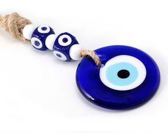 Turkish Evil Eye Wall Hanging - Glass Blue Evil Eye Wall Decor - Greek Evil Eye Wall Art