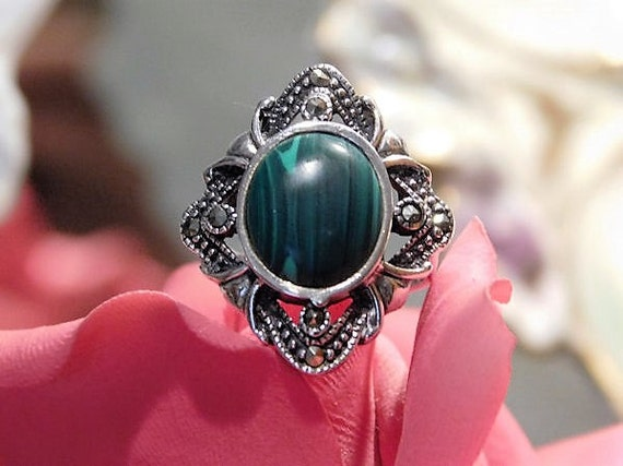 Malachite Sterling Silver Marcasite Ring / Size 6