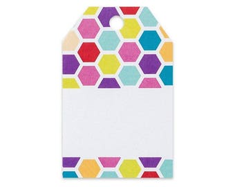 Rainbow Honeycomb Printed Gift Tags - 2 1/4 x 3 1/2 - 50 Pack