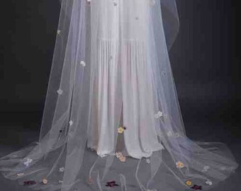 Springtime Cathedral Length Veil - Long Veil - Wedding Veil - Custom Veil - Handmade Wedding Veil