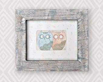 Original watercolour of two owls, Marvin and Mabel. This is an original, NOT A PRINT. Perfect for a baby or child's room!