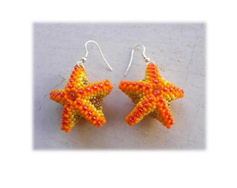 Beaded Starfish Earrings PDF  tutorial in ENGLISH