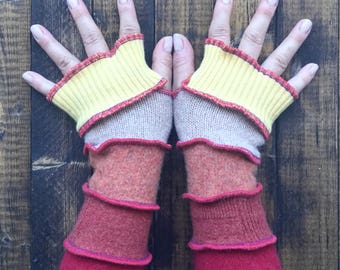 Fingerless Gloves Made from Recycled Sweaters - Festival Clothing - Altered Couture - Arm Warmers - by Playful Chameleon