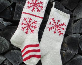 """Knit Christmas Stockings 23-24"""" Personalized Hand knit Wool Nordic Scandinavian Style White Cranberry Red Snowflakes ornaments"""