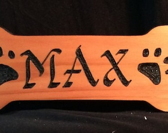 Dog Bone -Larger- Wood Carve Cedar  DOG BONE Shaped  name  plaque your best friend.- WoodChuckSigns Pittsburgh PA