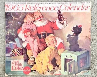 Vintage 1965 Coca Cola Paper Calendar