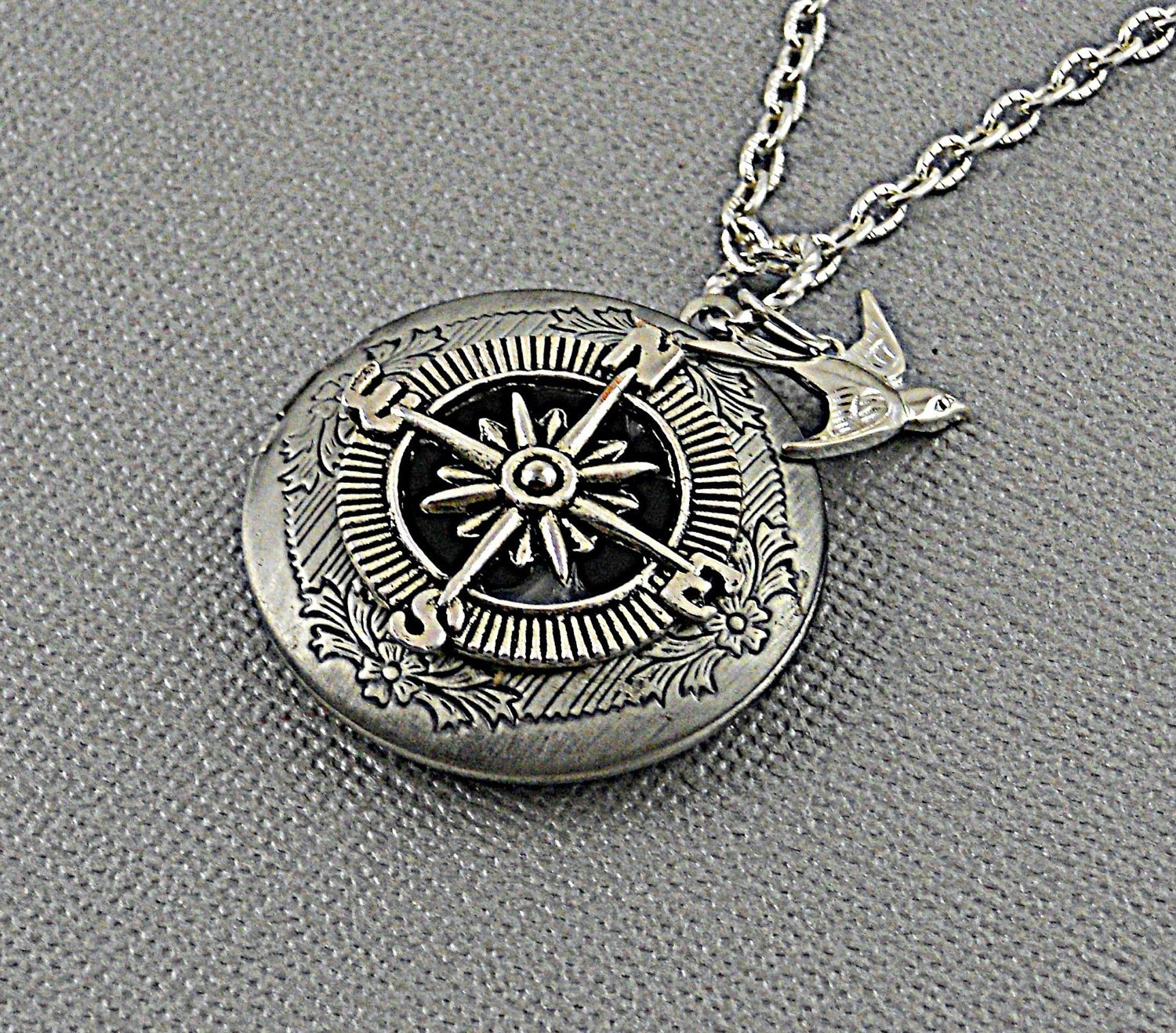 silver antique necklace locket engraving lockets sterling ball picture available photo