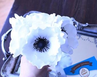 Handmade Edible Sugar Anemone Flower Cake Topper Decorations