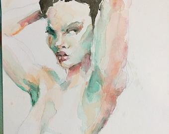 Watercolor figure portrait