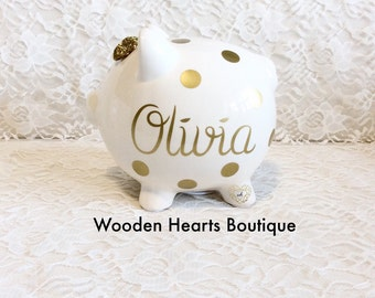 Large Gold NAME Personalized Piggy Bank custom made for a sweet girl, or boy, first birthday, baby girl, baby, baby gift, baby shower gift