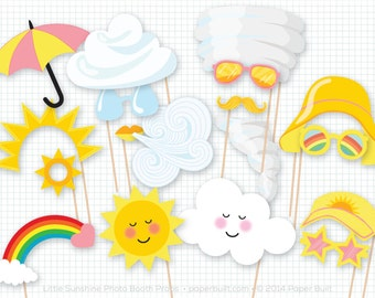 My Little Sunshine Party, Photo Booth Props, Photobooth Props, Birthday Party Props, Weather Photo Booth Props, Sunshine Party, 1st Birthday