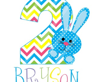 Bunny Birthday Number Digital Download for iron-ons,heat transfers, T-Shirts, Onesies, Bibs, Towels, Aprons, DIY YOU PRINT