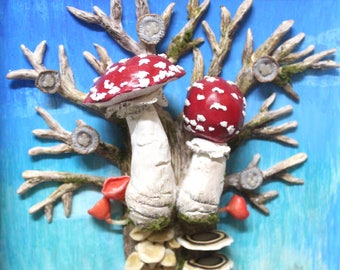 A tale of many mushrooms 3D clayart painting