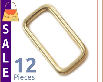 "On Sale : 1-1/4 Inch Rectangular Wire Loops / Rings, Brass Finish, 12 Pieces, Purse Handbag Hardware Supplies, 1.25"" Rectangle, RNG-AA205"