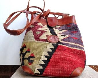 Kilim Purse Shoulder Bag Wool vintage kilim handbag Turkish striped design vintage Kilim Calf leather Boho purse