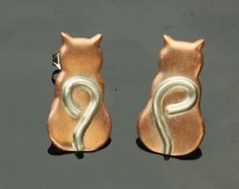 Cat Earrings Silver Copper Kitty Post Earrings