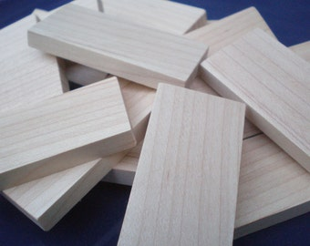 "Wooden 2"" x 1"" x 1/4"" Domino Tiles (lot of 15)"