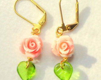 MOTHER'S DAY SALE, Carved Rose,Coral Pink Conch Shell Earrings,Eternally Blooming Roses, Gold Filled Lever Back,Supply Limited, Lady's Gift
