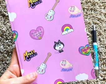 Miley Cyrus pink lined notebook & sticker set, Hannah Montana, sketchbook