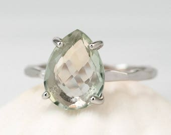 Green Amethyst Ring, Solitaire Ring, February Birthstone, Teardrop Stone, Stacking Ring, Prong Setting, Pale Green Gemstone, Gift for Her