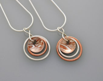"Mixed metal necklace ""Planets"" with mokume gane"