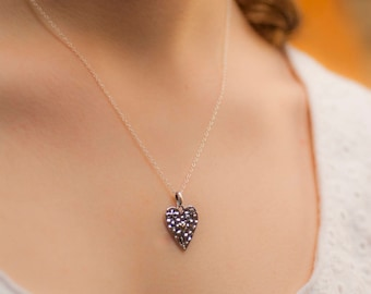 Silver Heart Necklace, Heart Necklace, Silver Flower Necklace, Gardening Gift