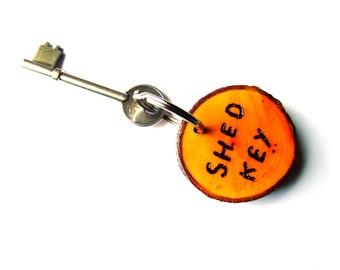 Natural wood keyring, 'Shed Key'