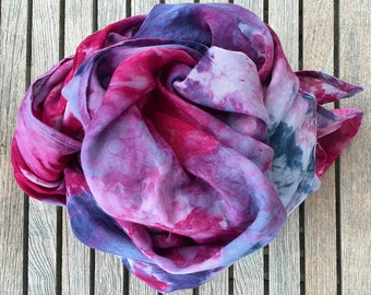 Pink Purple Hand Dyed Linen Scarf Wrap