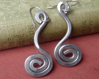 Swinging Spiral Earrings, Light Weight Hammered Wire Dangle Earrings, Aluminum Jewelry, Valentines Day Gift for Women, Boho Everyday Casual