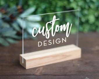 Custom Small Designed Sign / Acrylic / plexiglass / gold / wedding / event