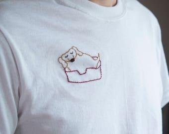 Sleeping Pup Shirt - Handmade Embroidered Sleeping Dog Art T-shirt