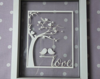 Love - Love Birds - Paper Cut Out - With Floating Frame - Laser Cut