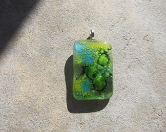 Yellow, Green and Blue Fused Glass Pendant