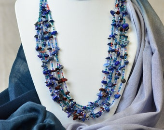 Multi Strand Blue Gemstone and Seed Bead Necklace, Gems and Seeds Series