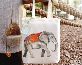 Elephant Tote Bag, Ethically Produced Reusable Shopper Bag, Cotton Tote, Shopping Bag, Eco Tote Bag, Stocking Filler, Elephant Gift