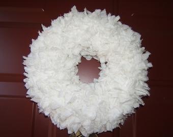 "Vintage fabric wreath white 10"""