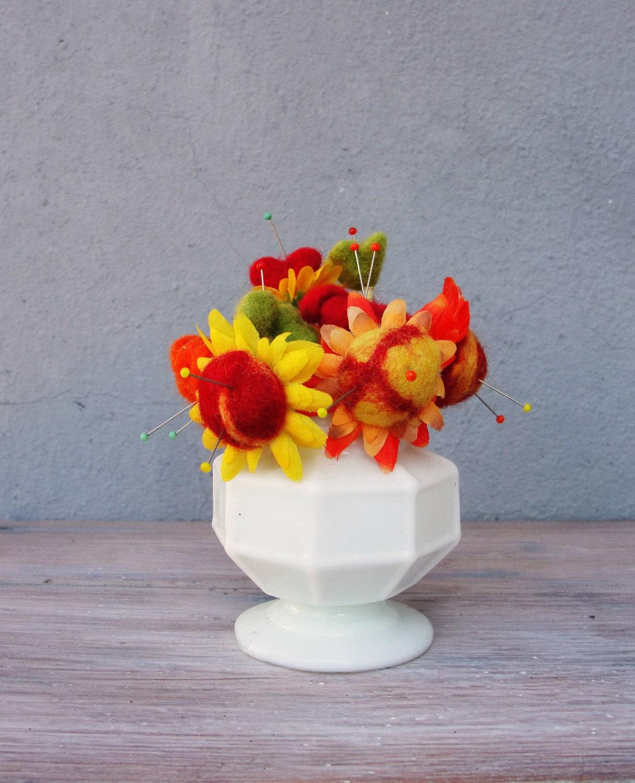 Flower Bouquet Pincushion Felt And Glass