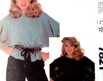 Vintage McCall's Pattern 7821 Pullover Batwing Top Elastic Waist Peplum Size 6-8