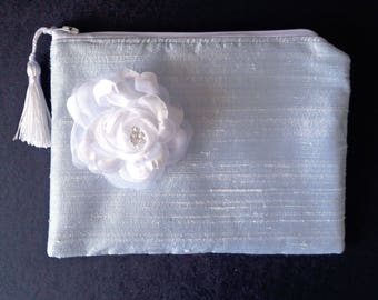 Blue clutch, blue silk purse, brides clutch, bridesmaid gift, evening bag, bridal clutch, brides purse, Mother's Day, prom