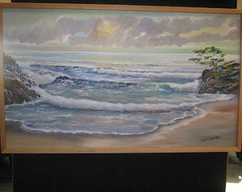 Monterey Cypress, Ocean Oil,  Carmel, 41 long x 24 1/4 tall, Original Oil, Ocean Dawn, Sunrise Pacific Ocean, Original Oil, Dan Leasure Oil