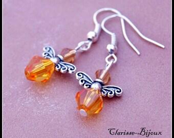Silver earrings. Dangle earrings. Angel earrings.