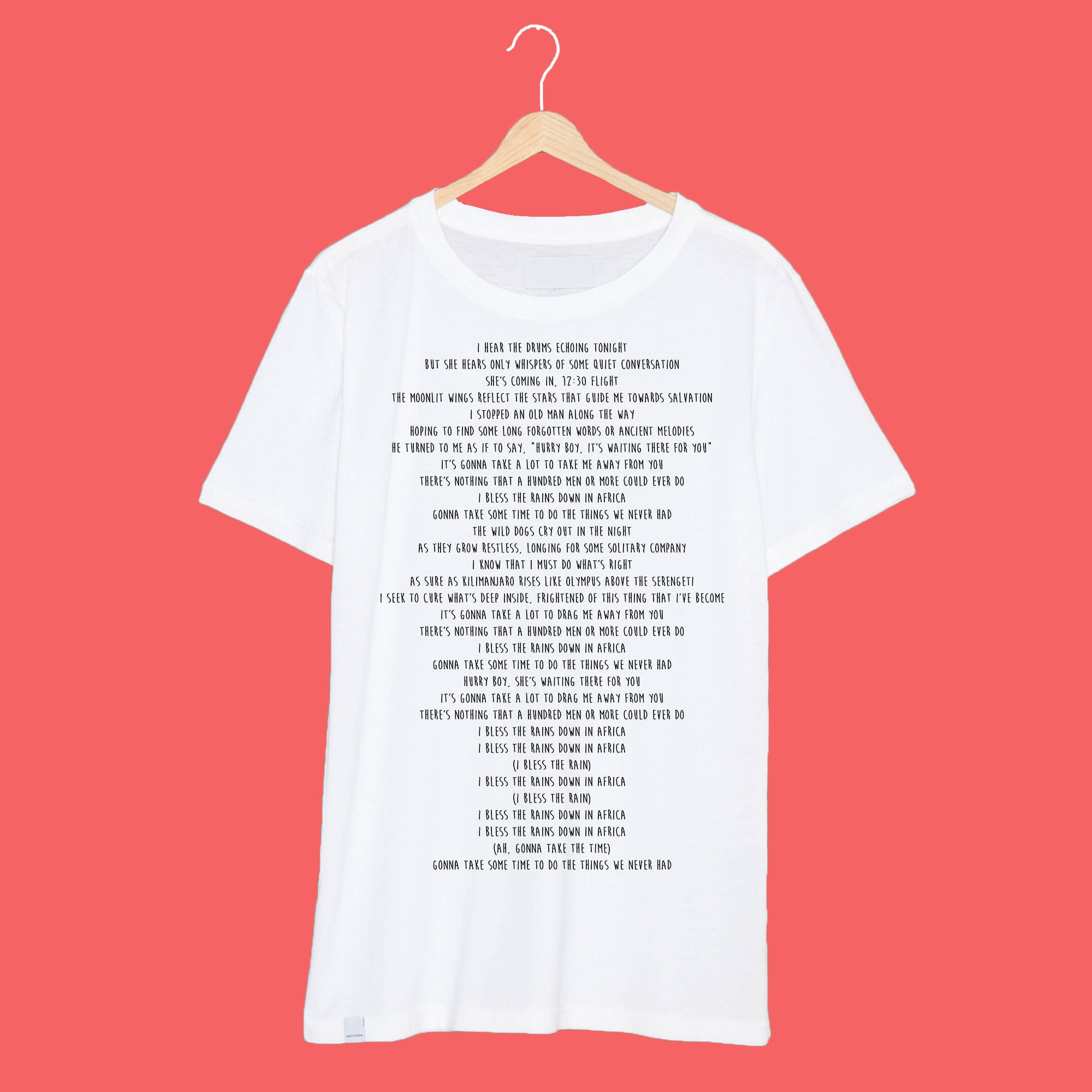 Africa Toto Lyrics Printed On A White T Shirt Meme