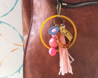 Bead and Tassel Charm Cluster Pendant Key Chain or Purse Zipper Charm Pink Yellow Gold