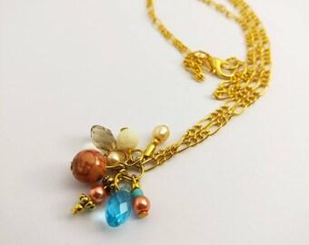 Beaded necklace, Swarovski necklace, cluster necklace, charm necklace, crystal necklace, jade necklace, pearl necklace, boho necklace, peach