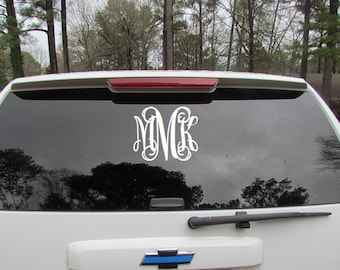 Monogrammed car decal, Monogrammed car sticker, 3 Initial decal