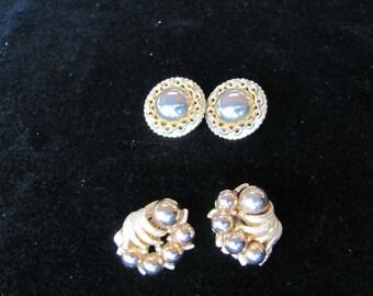 Kramer Gold Earrings, 2 pair